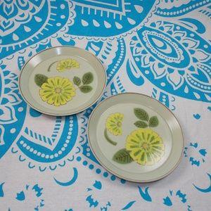 2 Vintage 70s Dessert Plates Green Yellow Retro
